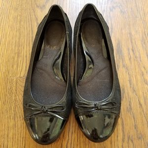 Black Patent Leather and Tweed Ballet Flats